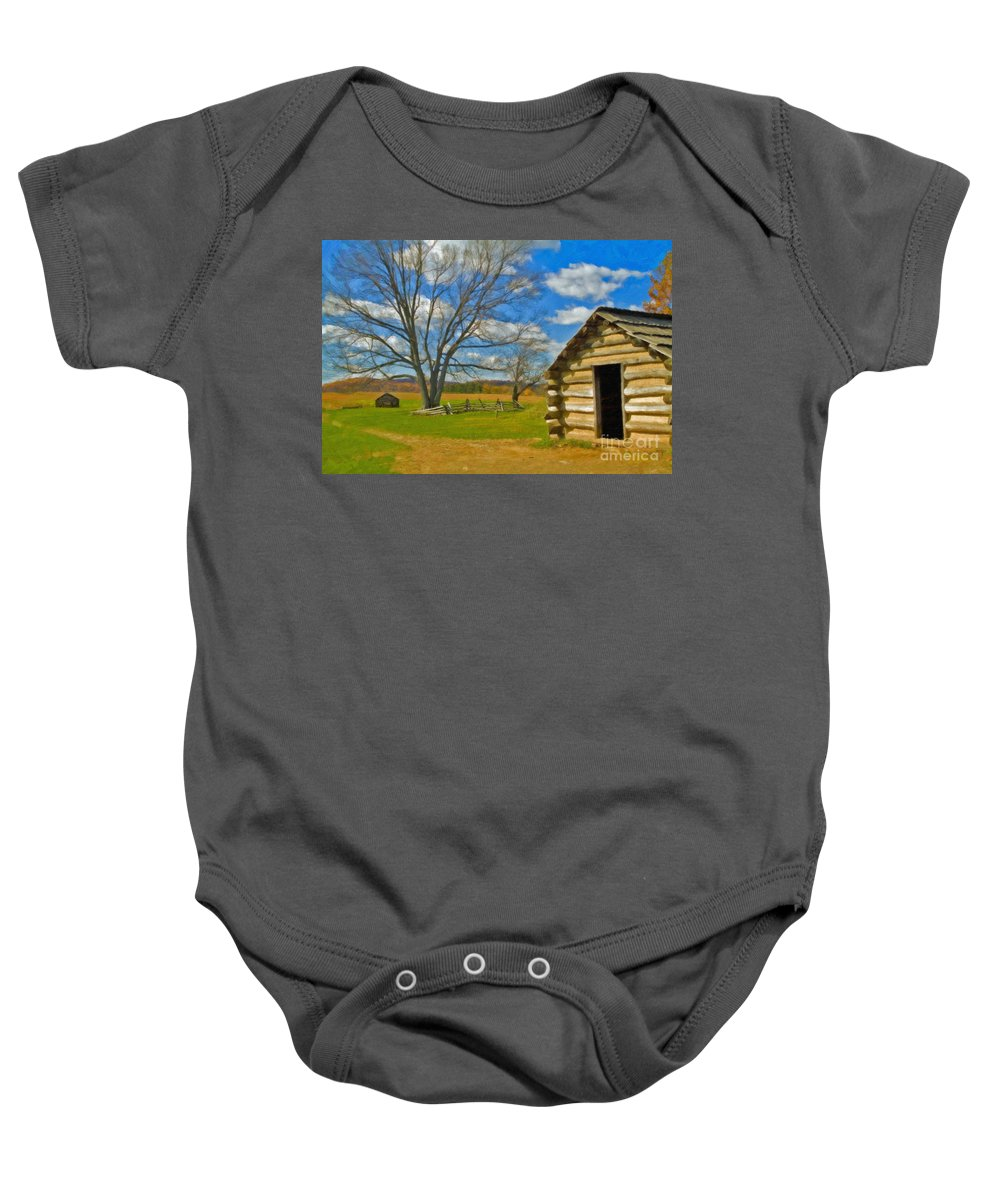 Valley Forge Baby Onesie featuring the photograph Log Cabin Valley Forge Pa by David Zanzinger