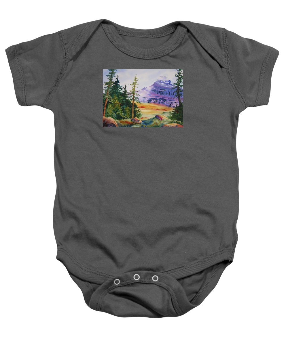 Landscape Baby Onesie featuring the painting Logan Pass by Karen Stark