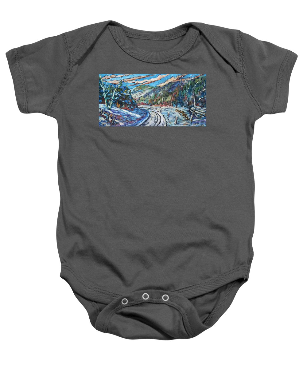 Loggers Baby Onesie featuring the painting Loggers Road by Richard T Pranke