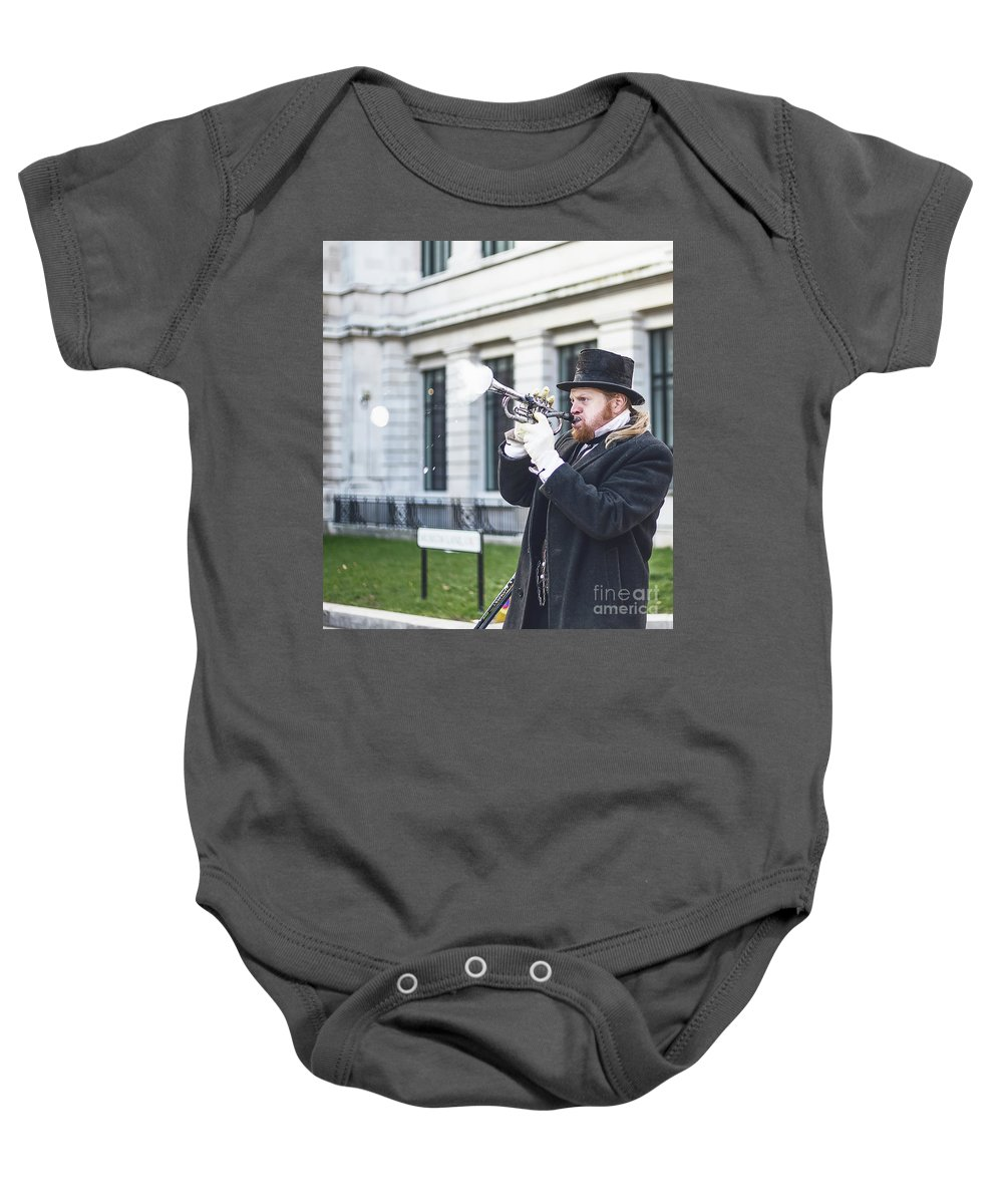 Big Ben Baby Onesie featuring the photograph London Bubbles 5 by Alex Art and Photo