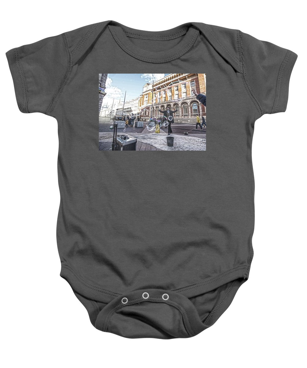 Street Artist Baby Onesie featuring the photograph London Bubbles 8 by Alex Art and Photo