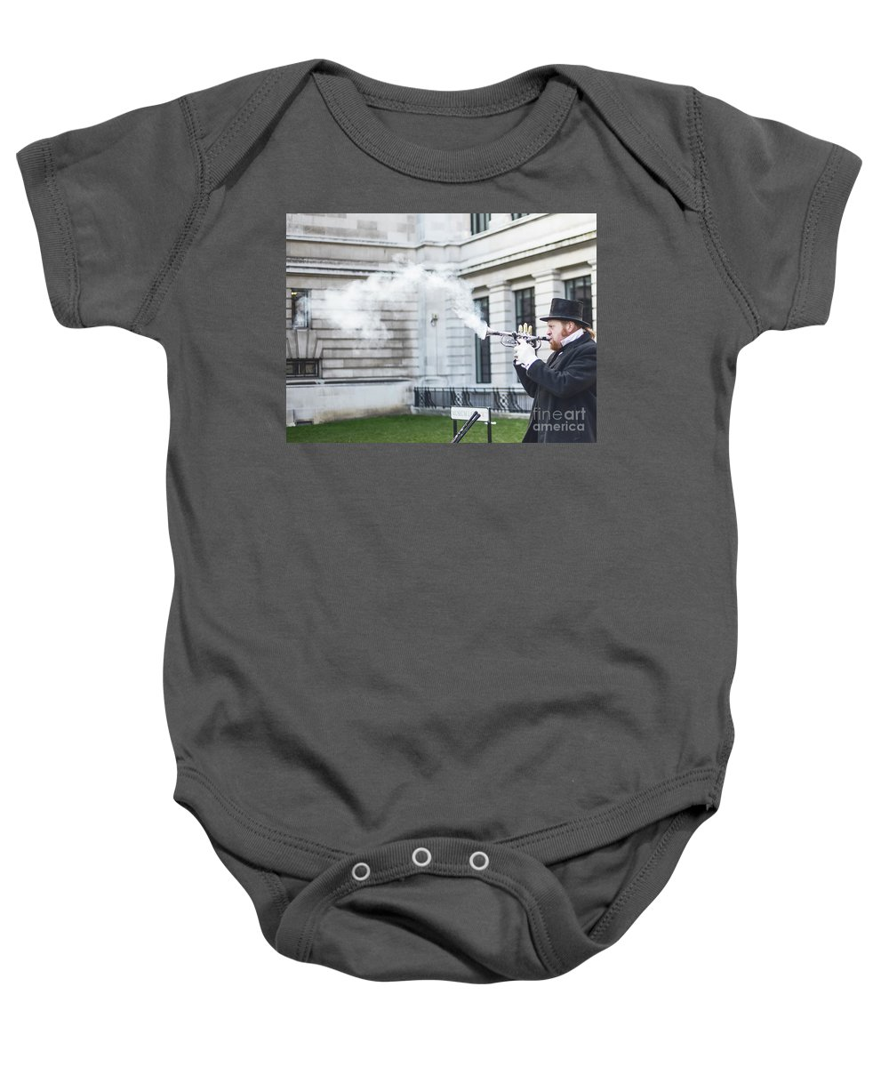 Street Artist Baby Onesie featuring the photograph London Explosion 2 by Alex Art and Photo