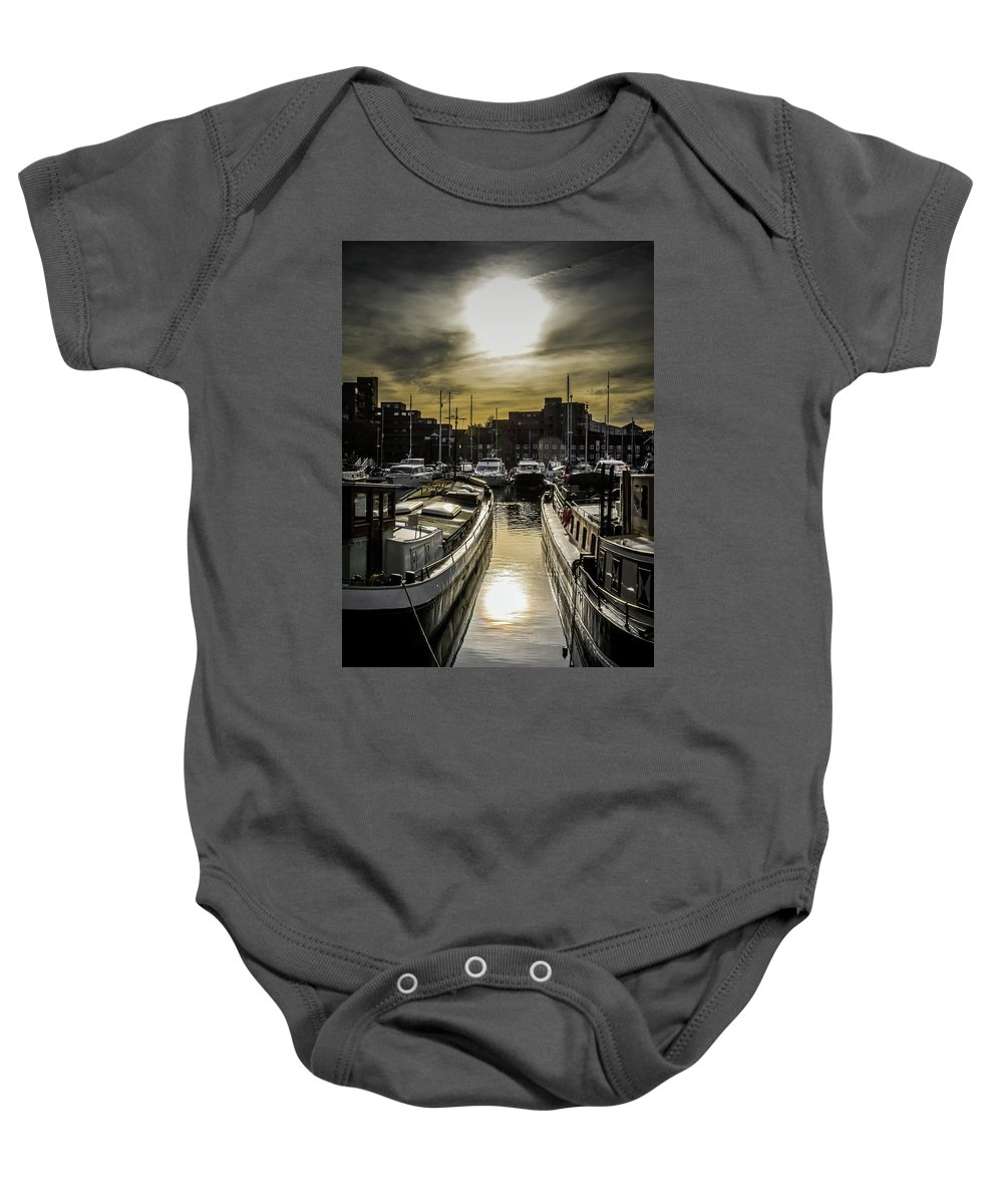 London. St. Katherine Dock. Boat. Landscape. Baby Onesie featuring the photograph London. St. Katherine Dock. Into The Sun. by Yau Ming Low