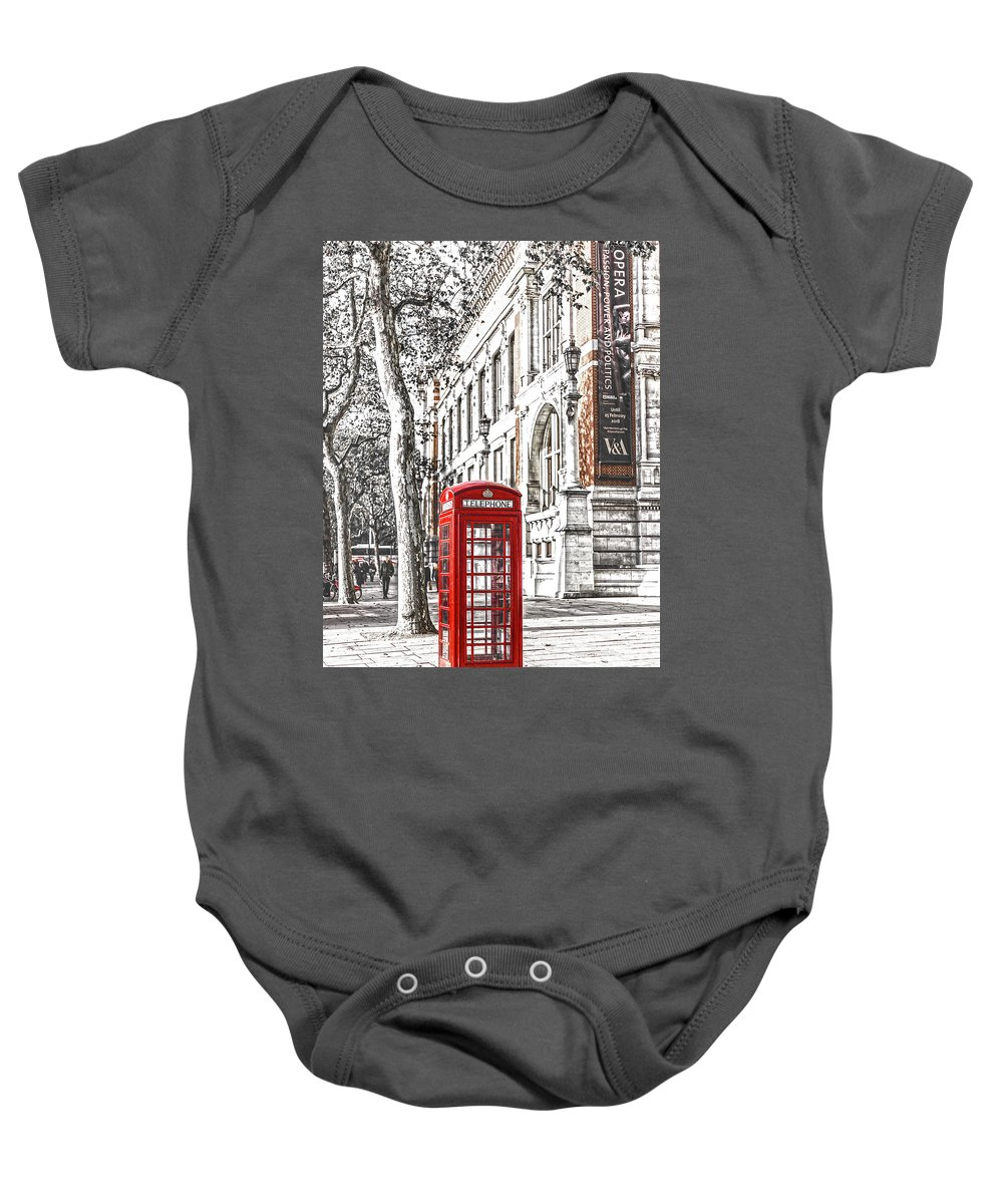 London Red Telephone Baby Onesie featuring the photograph London Telephone B by Alex Art and Photo