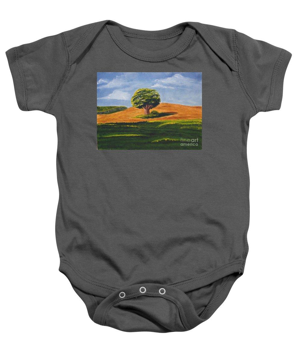 Tree Baby Onesie featuring the painting Lone Tree by Mendy Pedersen