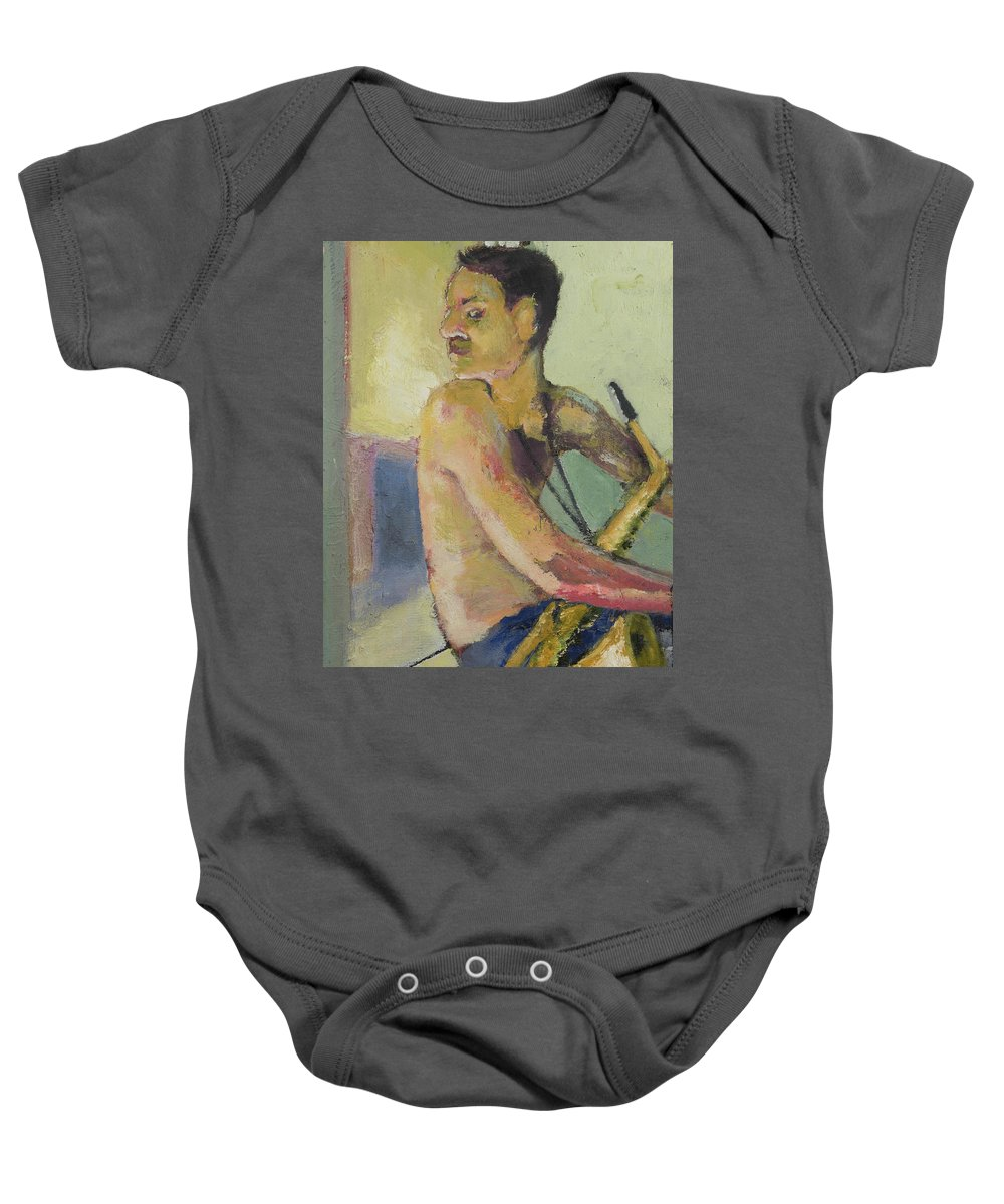 Saxophone Baby Onesie featuring the painting Lonely Saxophone by Craig Newland