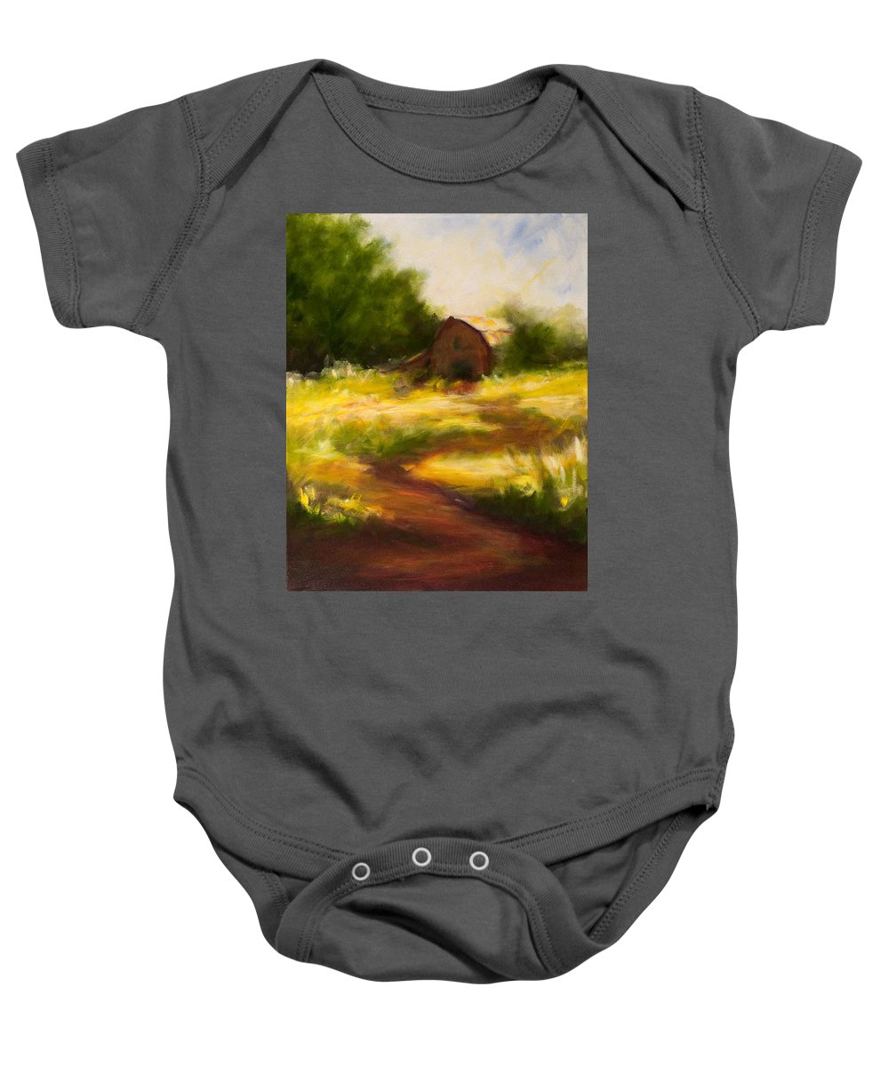 Landscape Baby Onesie featuring the painting Long Road Home by Shannon Grissom