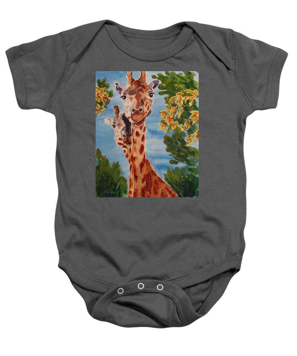 Giraffes Baby Onesie featuring the painting Lookin Back by Karen Ilari
