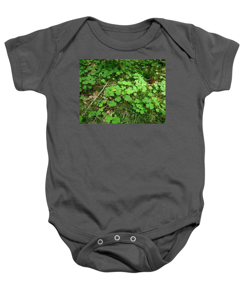 Clover Baby Onesie featuring the photograph Looking For A Four-leaf Clover by Valerie Ornstein