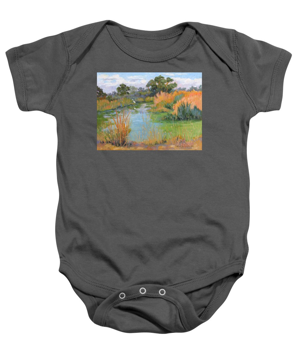 Central Valley Baby Onesie featuring the painting Looking For Lunch by Rhett Regina Owings