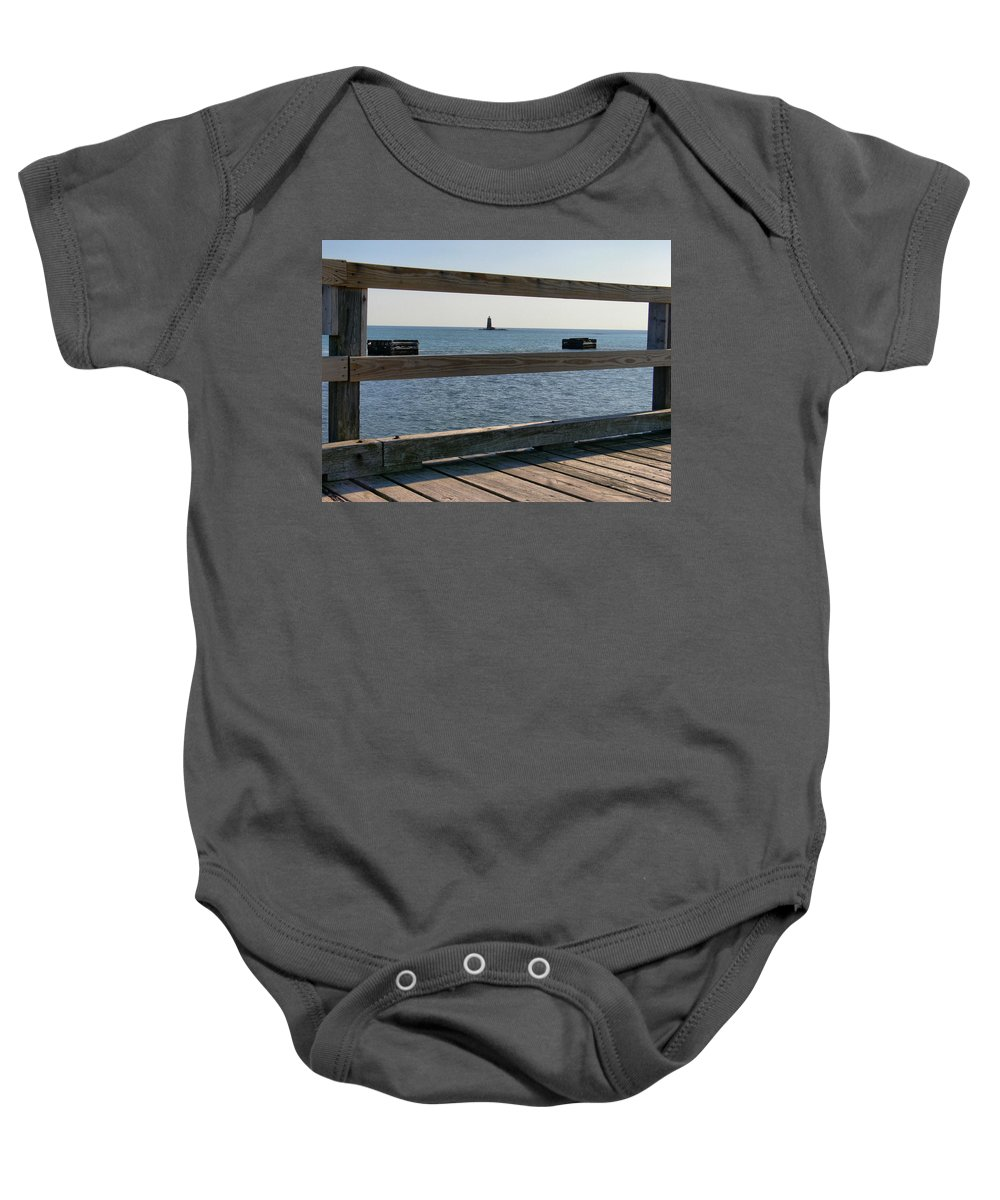 New England Lighthouse Baby Onesie featuring the photograph Looking Through by Nancie DeMellia