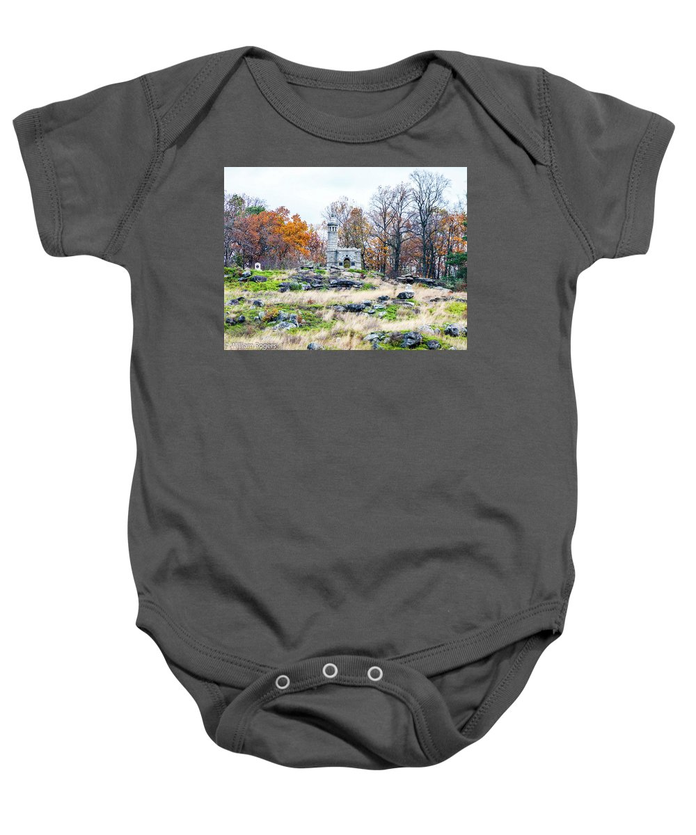 This Is A View Looking Up At The Top Of Little Round Top Baby Onesie featuring the photograph Looking Towards The Top Of Little Round Top by William Rogers