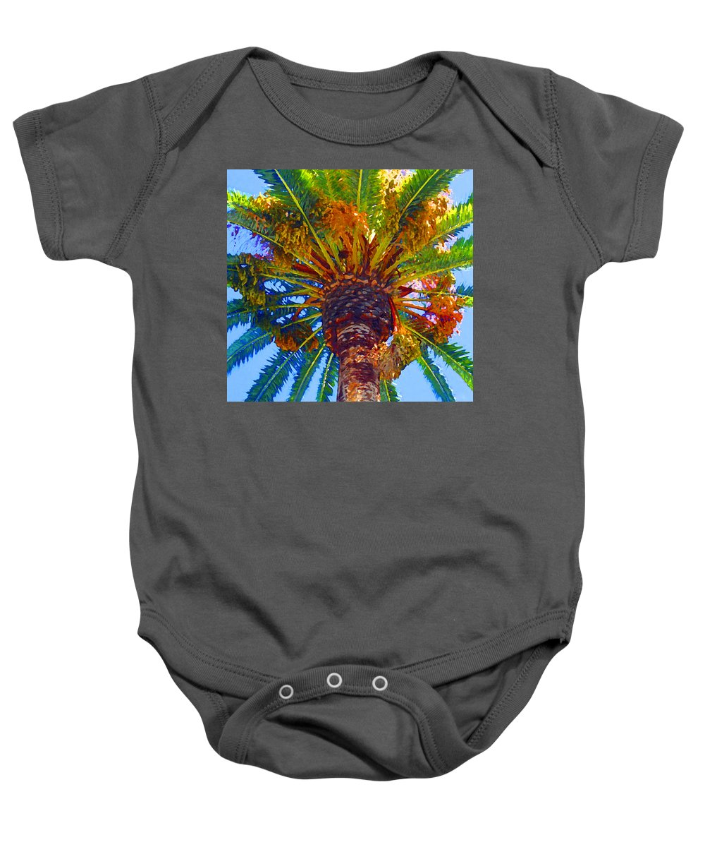 Garden Baby Onesie featuring the painting Looking Up At Palm Tree by Amy Vangsgard