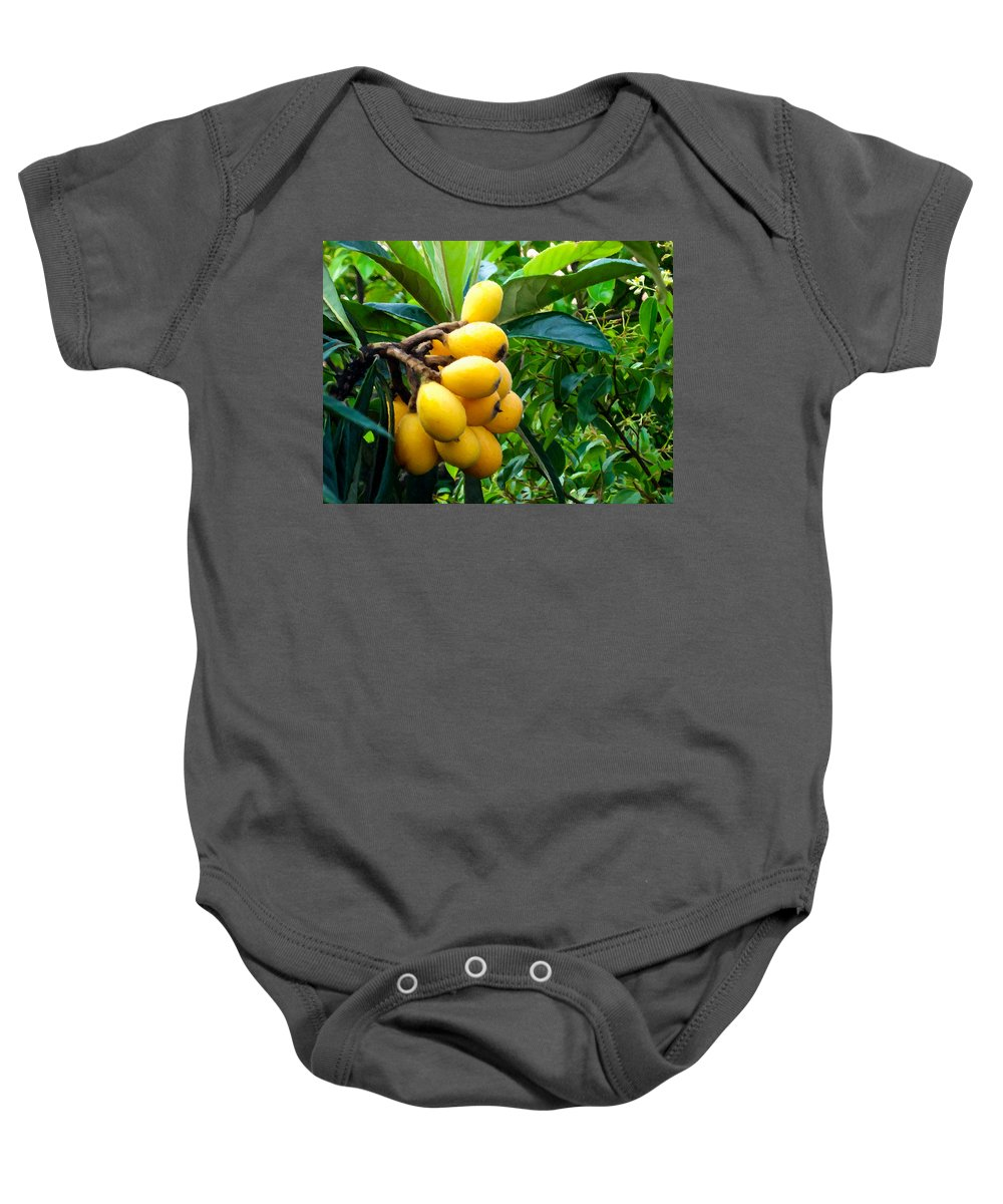 Loquats In The Tree Baby Onesie featuring the painting Loquats In The Tree 4 by Jeelan Clark