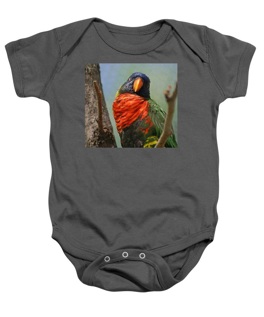 Bird Baby Onesie featuring the photograph Lorikeet by Heather Coen