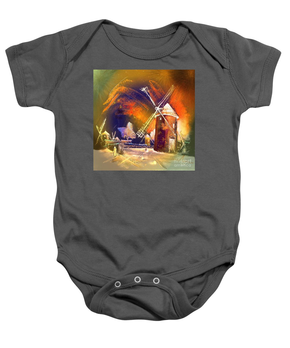Baby Onesie featuring the painting Los Molinos Del Quijote 01 by Miki De Goodaboom