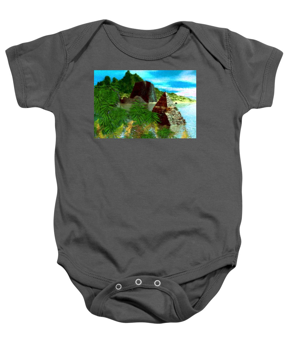 Digital Fantasy Painting Baby Onesie featuring the digital art Lost City by David Lane