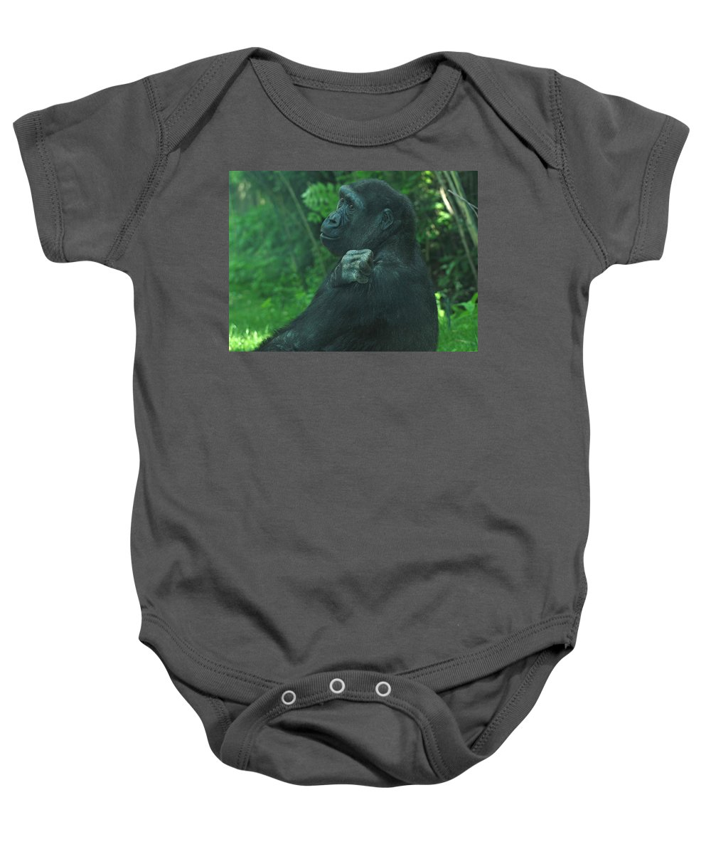 Gorilla Baby Onesie featuring the photograph Lost In Thought by Richard Bryce and Family
