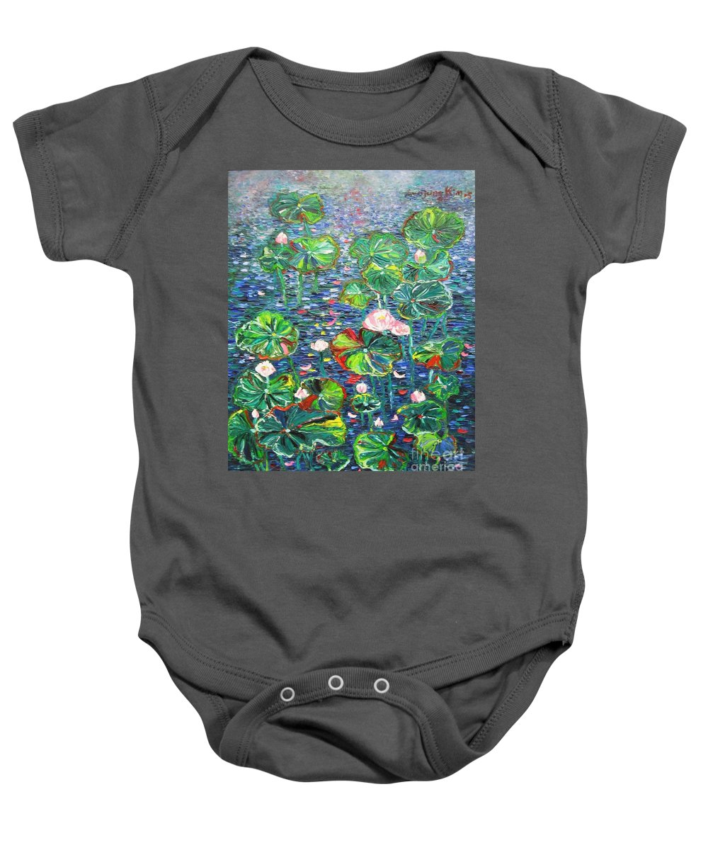 Water Lily Paintings Baby Onesie featuring the painting Lotus Flower Water Lily Lily Pads Painting by Seon-Jeong Kim