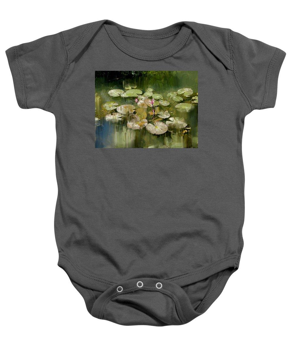 Lotus Baby Onesie featuring the painting Lotus Pond 1 by Usha Shantharam