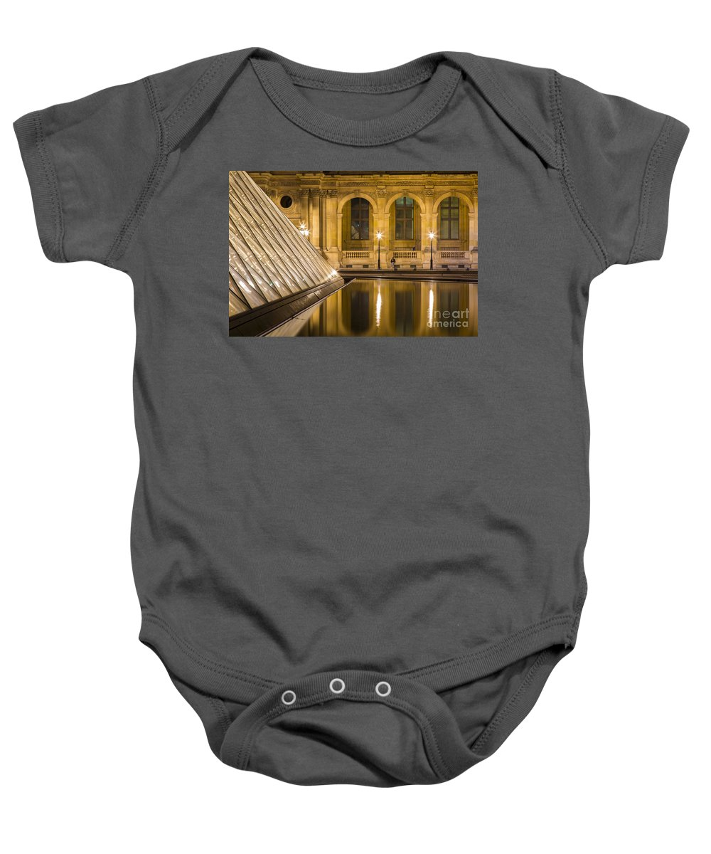 Arch Baby Onesie featuring the photograph Louvre Courtyard Lamps - Paris by Brian Jannsen