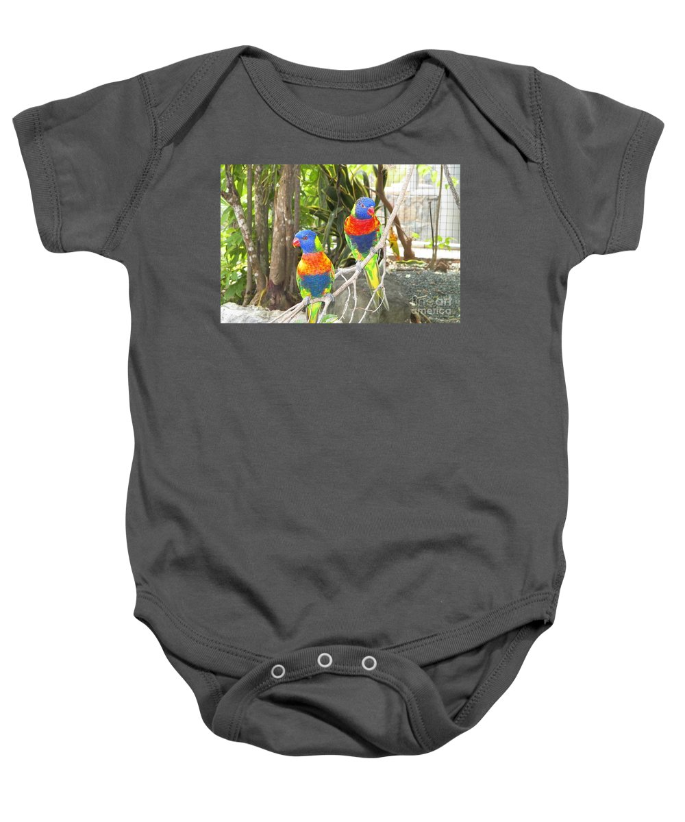 Lorikeets Baby Onesie featuring the photograph Love Birds by Gina Sullivan