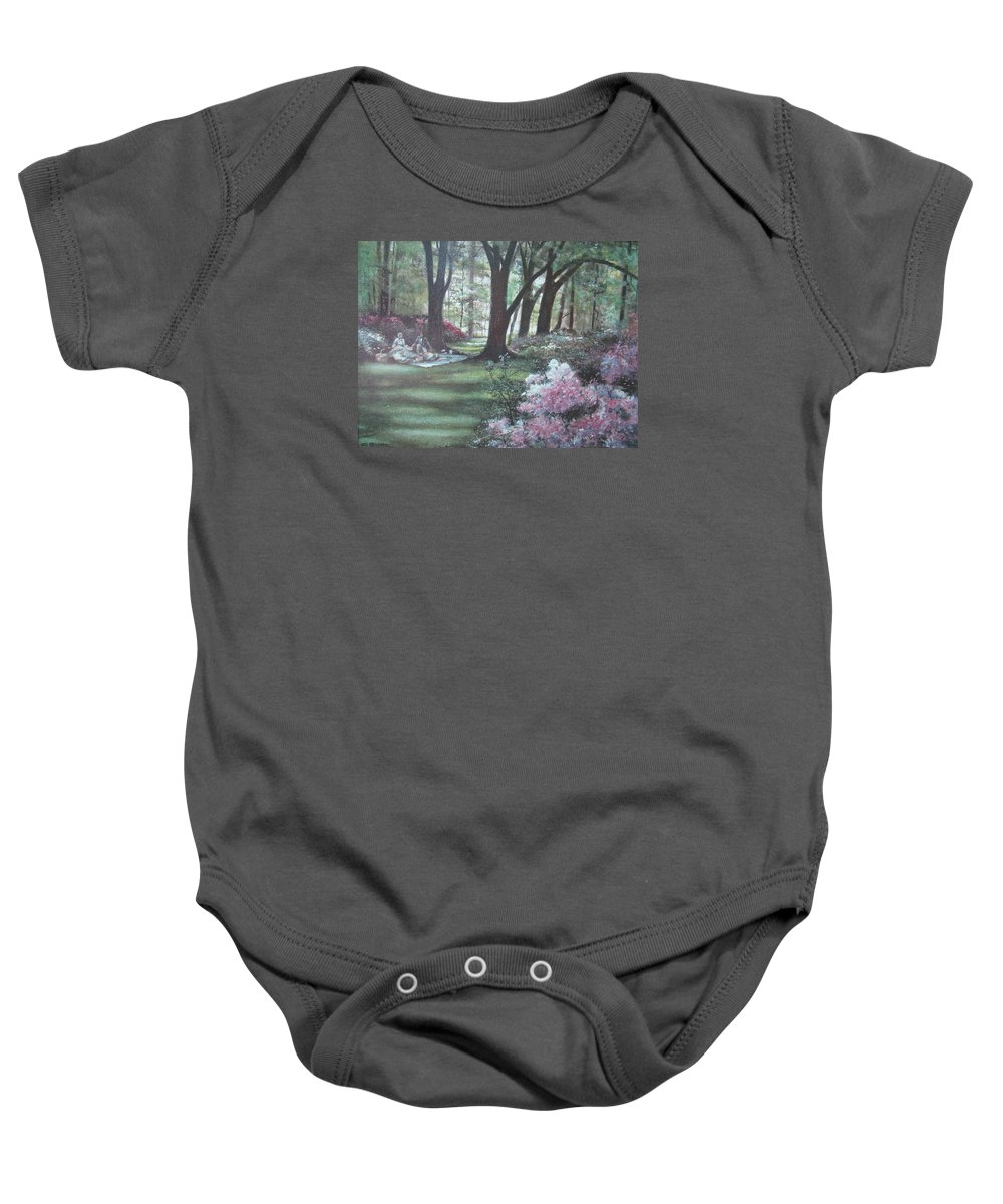 Charles Roy Smith Baby Onesie featuring the painting Love In Bloom by Charles Roy Smith