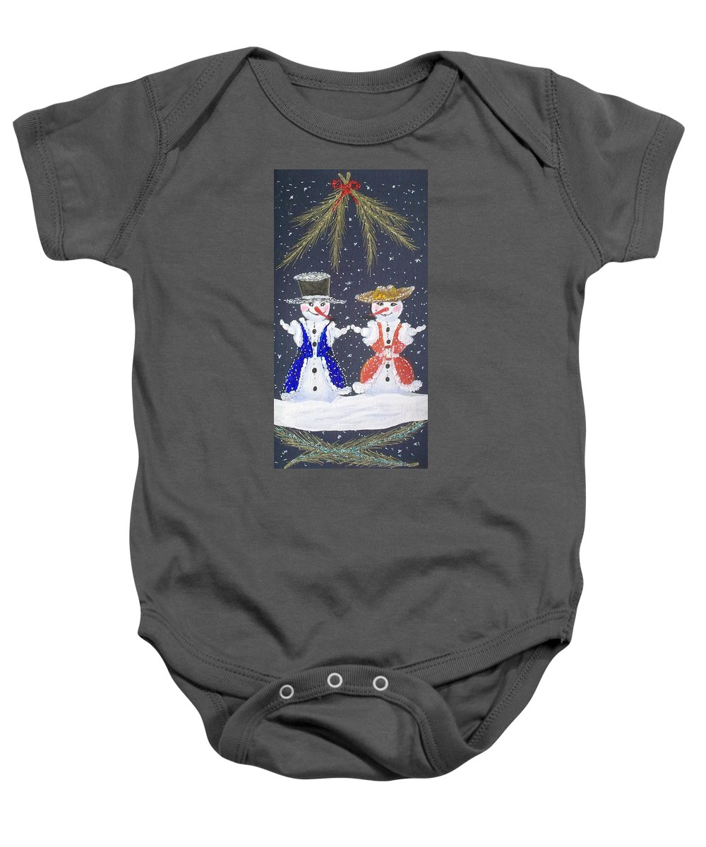 Snowman And Snowwoman Painting Baby Onesie featuring the painting Love Is In The Air by Georgeta Blanaru