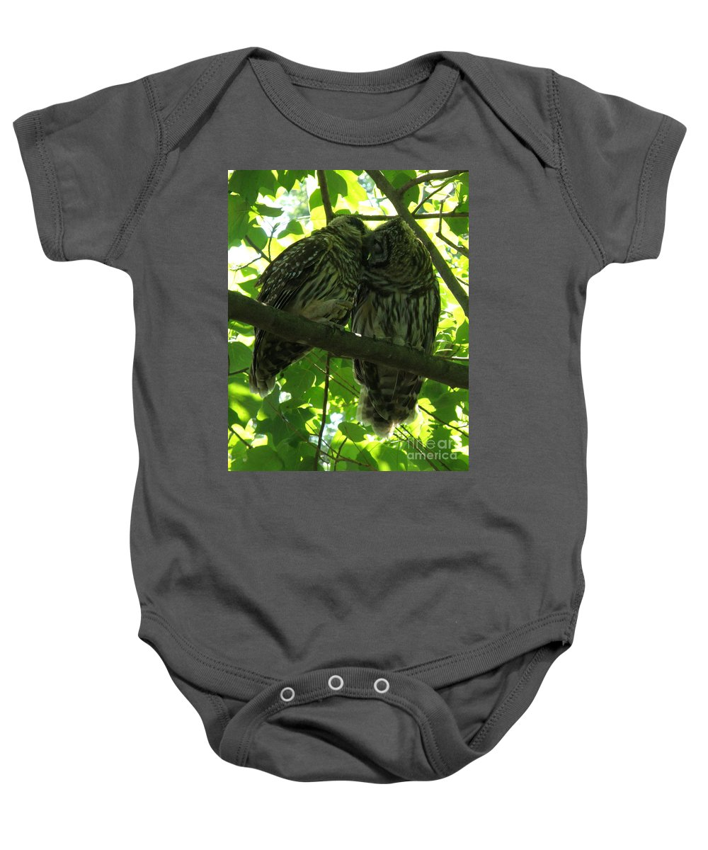 Owls Baby Onesie featuring the photograph Love Owls by Lainie Wrightson
