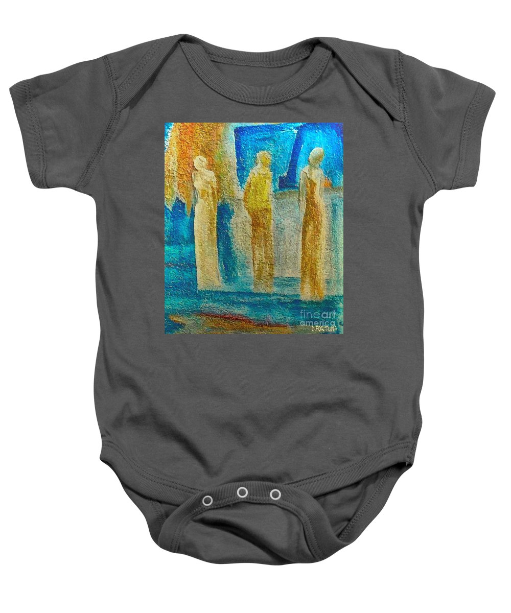 Mixed Media Baby Onesie featuring the mixed media Love Triangle by Dragica Micki Fortuna