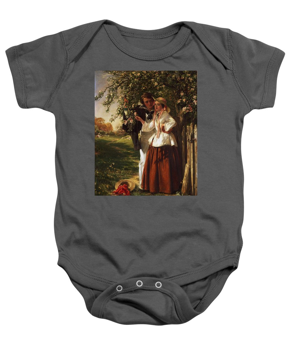 John Callcott Horsley Baby Onesie featuring the painting Lovers Under A Blossom Tree by MotionAge Designs