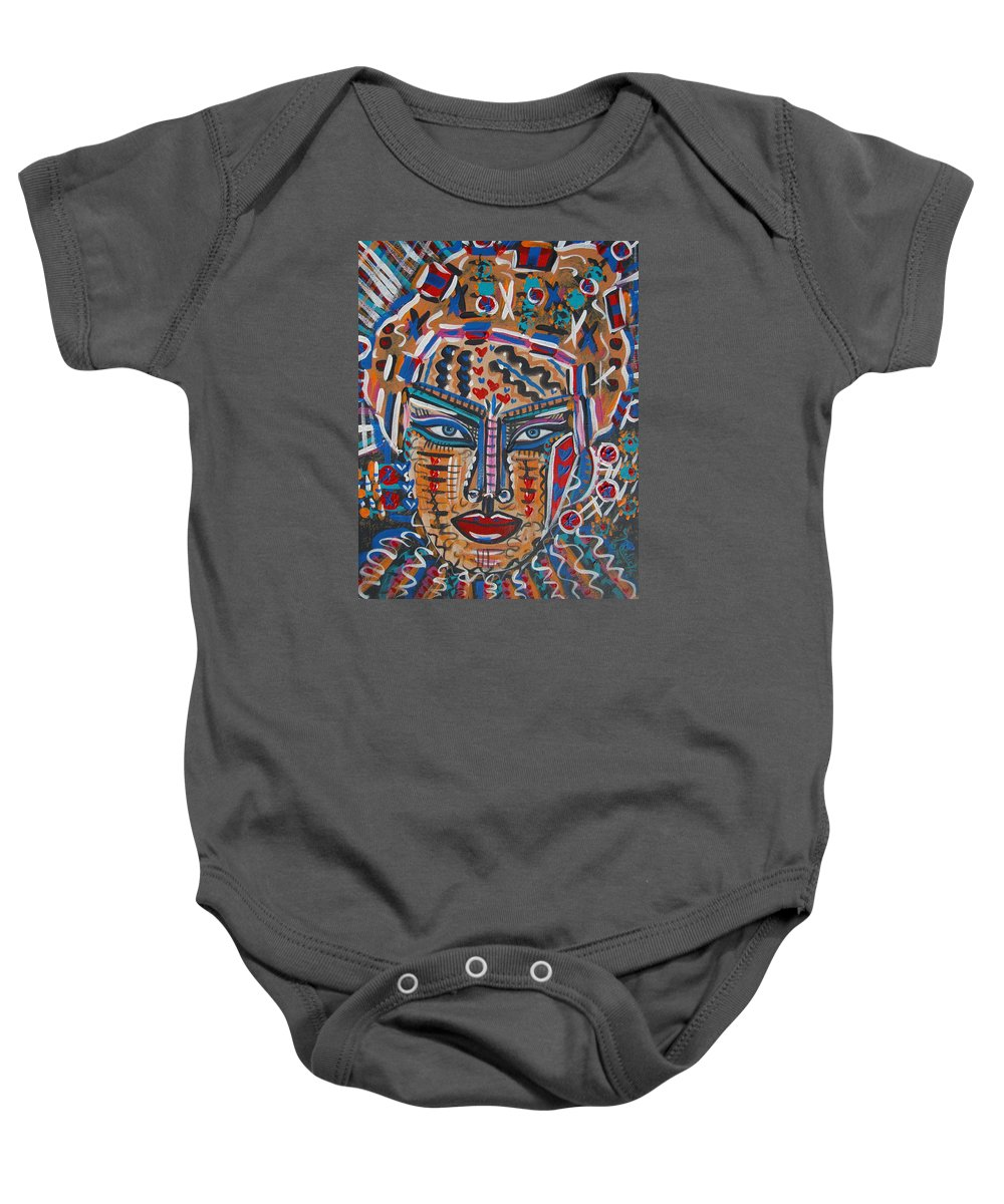 Abstract Baby Onesie featuring the painting Loviola by Natalie Holland