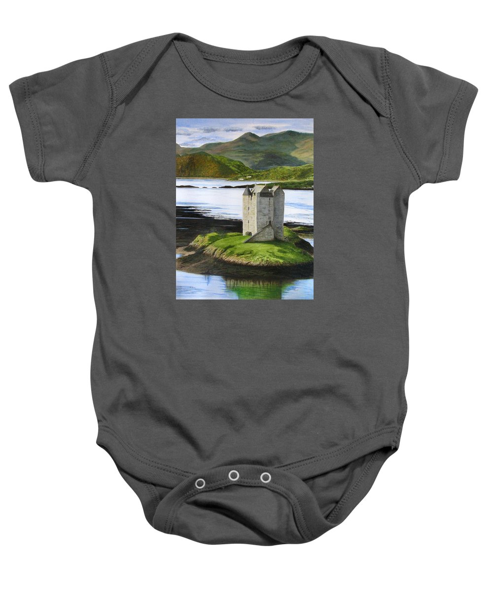 Scotland Baby Onesie featuring the painting Low Tide At Castle Stalker by Fay Reid