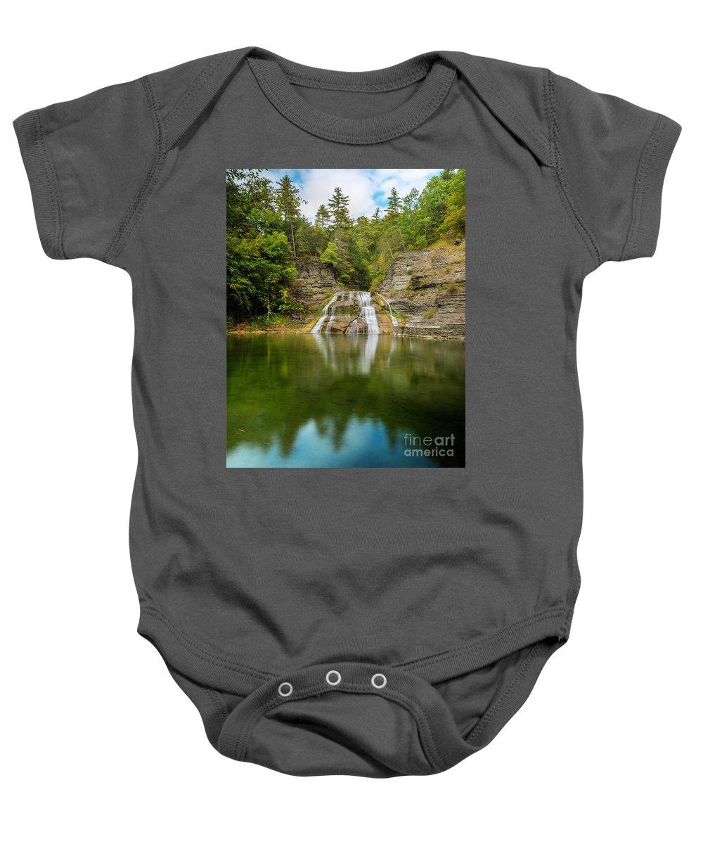 New York Baby Onesie featuring the photograph Lower Falls Of Enfield Glen Early Autumn by Karen Jorstad