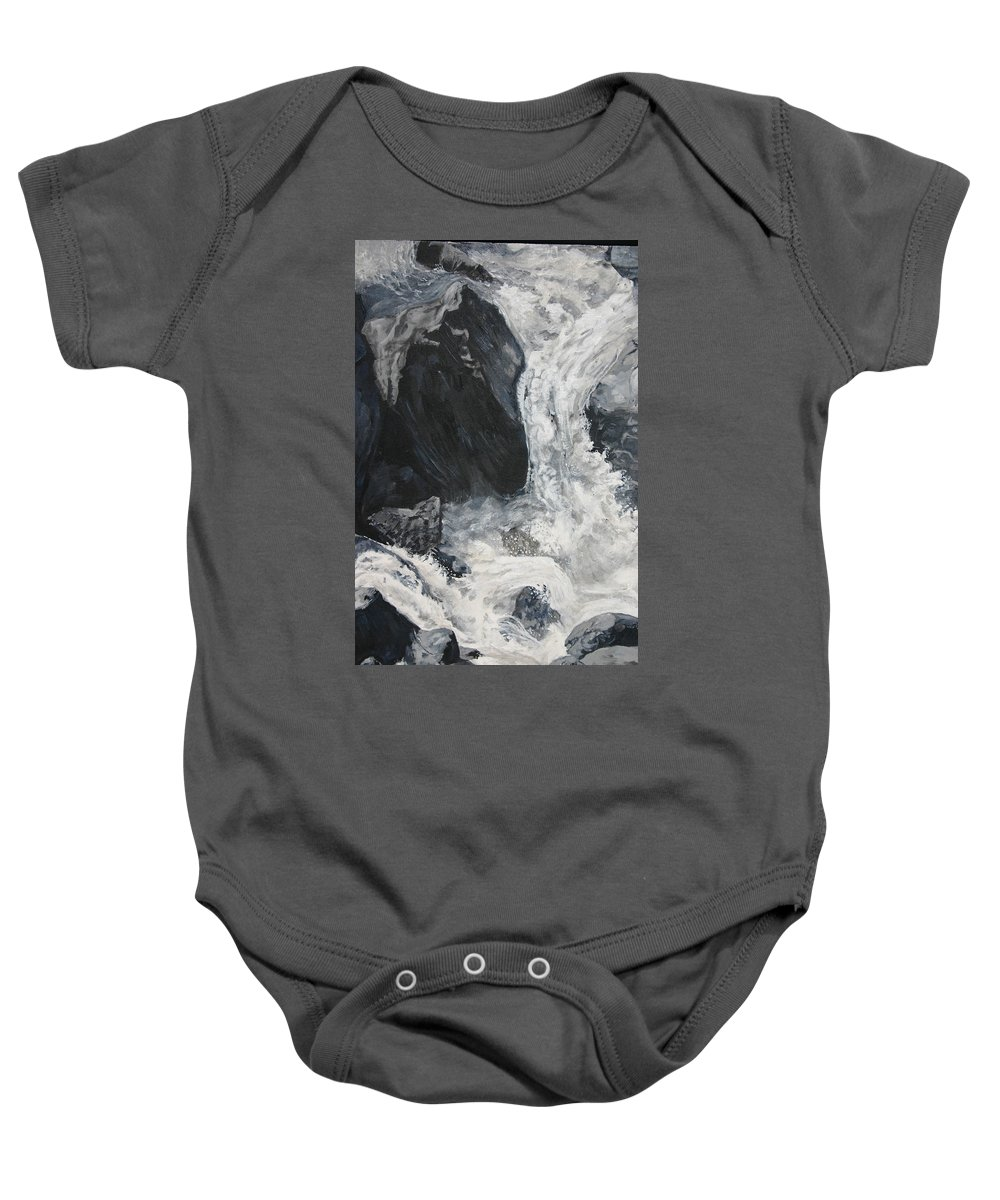 Water Baby Onesie featuring the painting Lower Vernal Black and White by Travis Day