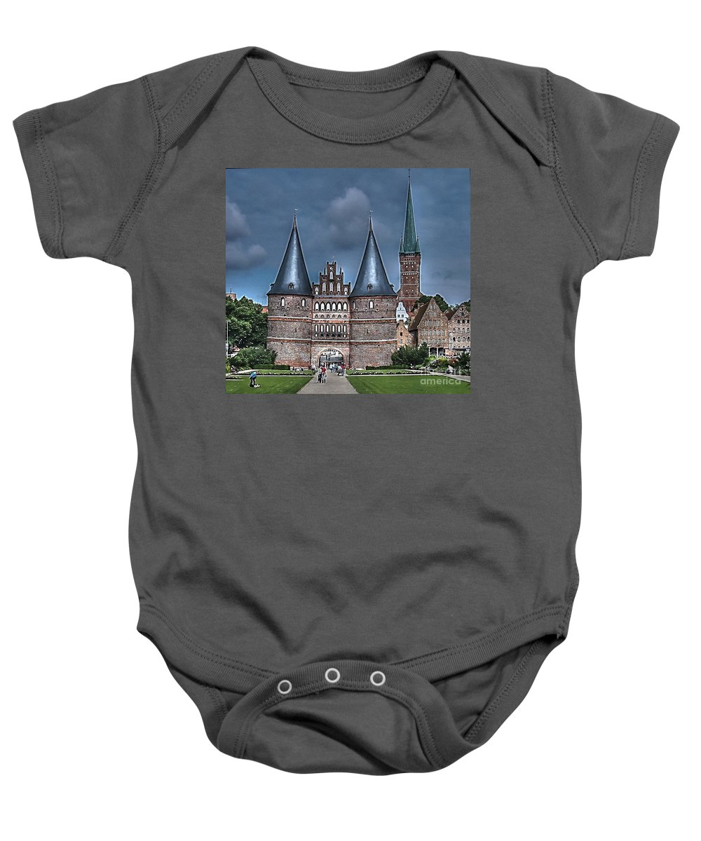 Lubek Baby Onesie featuring the pyrography Lubek Germany by Yury Bashkin
