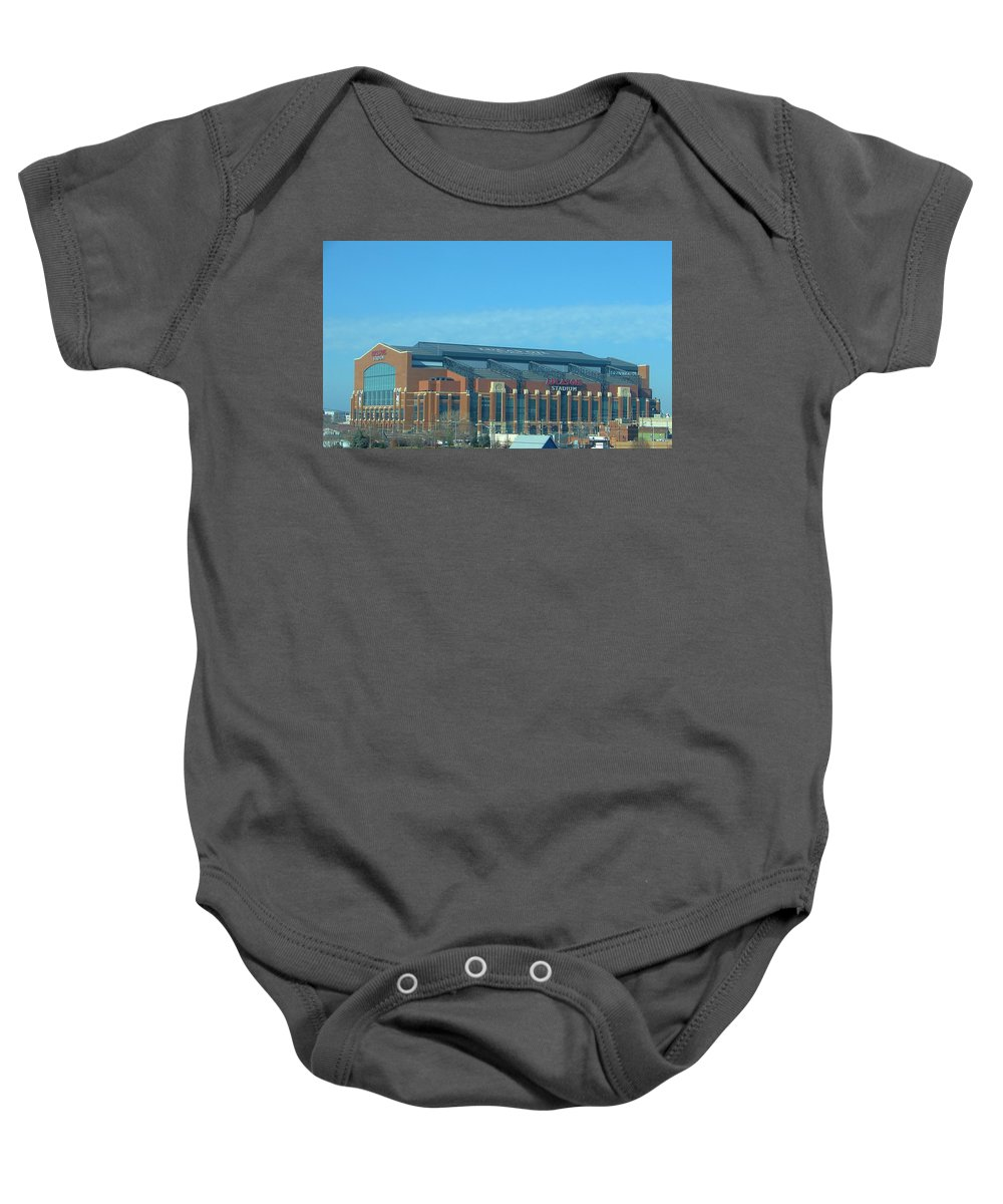 Architecture Baby Onesie featuring the photograph Lucas Oil Stadium by Rancher's Eye Photography