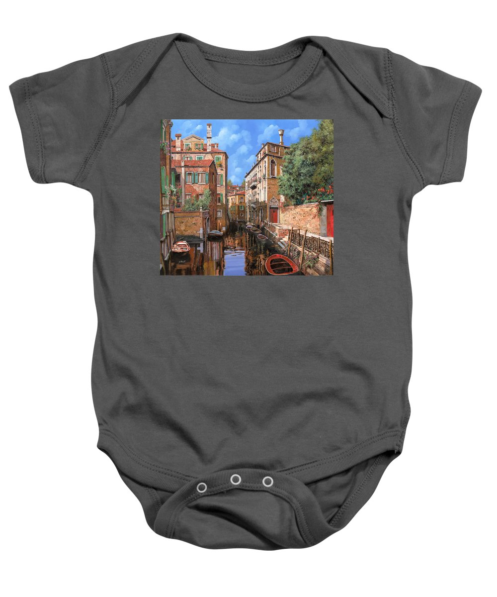 Venice Baby Onesie featuring the painting Luci A Venezia by Guido Borelli