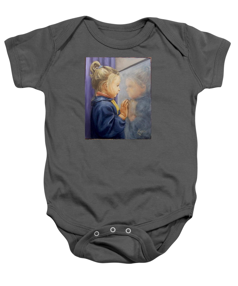 Girl Portrait  Reflectioj Window Child Kid Baby Onesie featuring the painting Luciana P. by Natalia Tejera