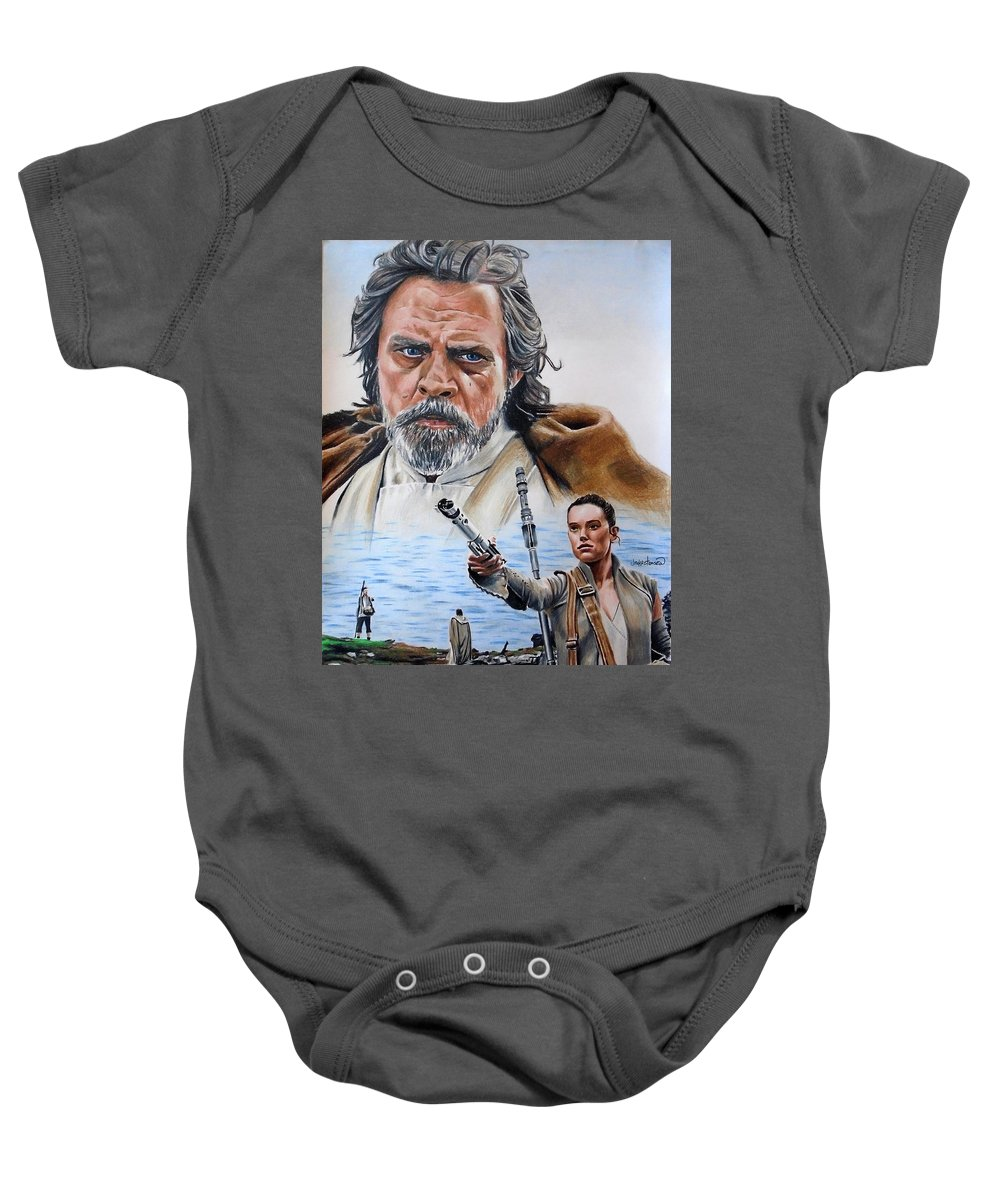 Star Wars Baby Onesie featuring the drawing Luke And Rey by Joseph Christensen