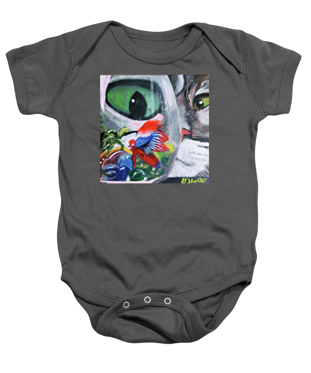 Baby Onesie featuring the painting Lulu's Fish Wish by Doug Shorts