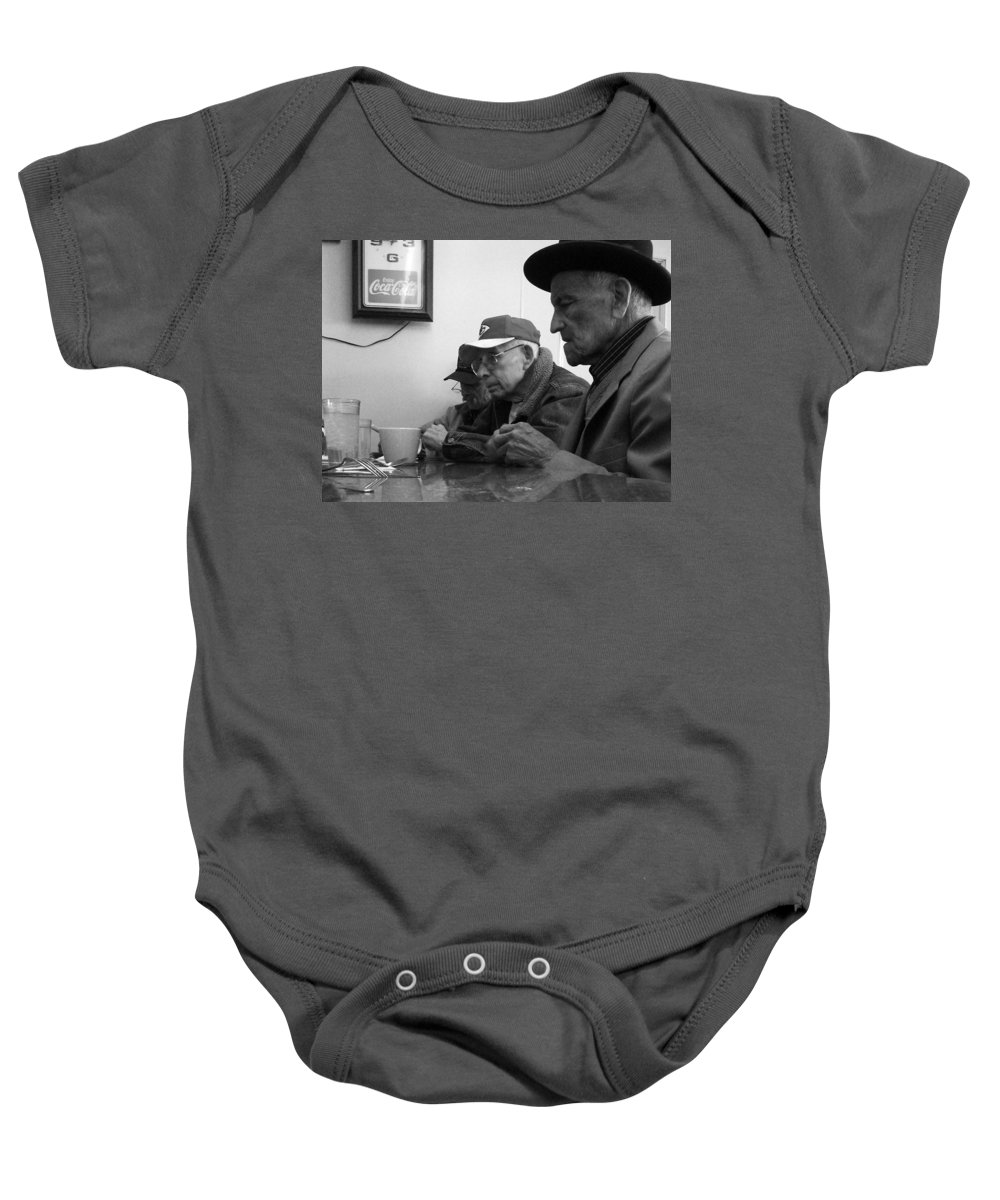 Diner Baby Onesie featuring the photograph Lunch Counter Boys - Black And White by Tim Nyberg