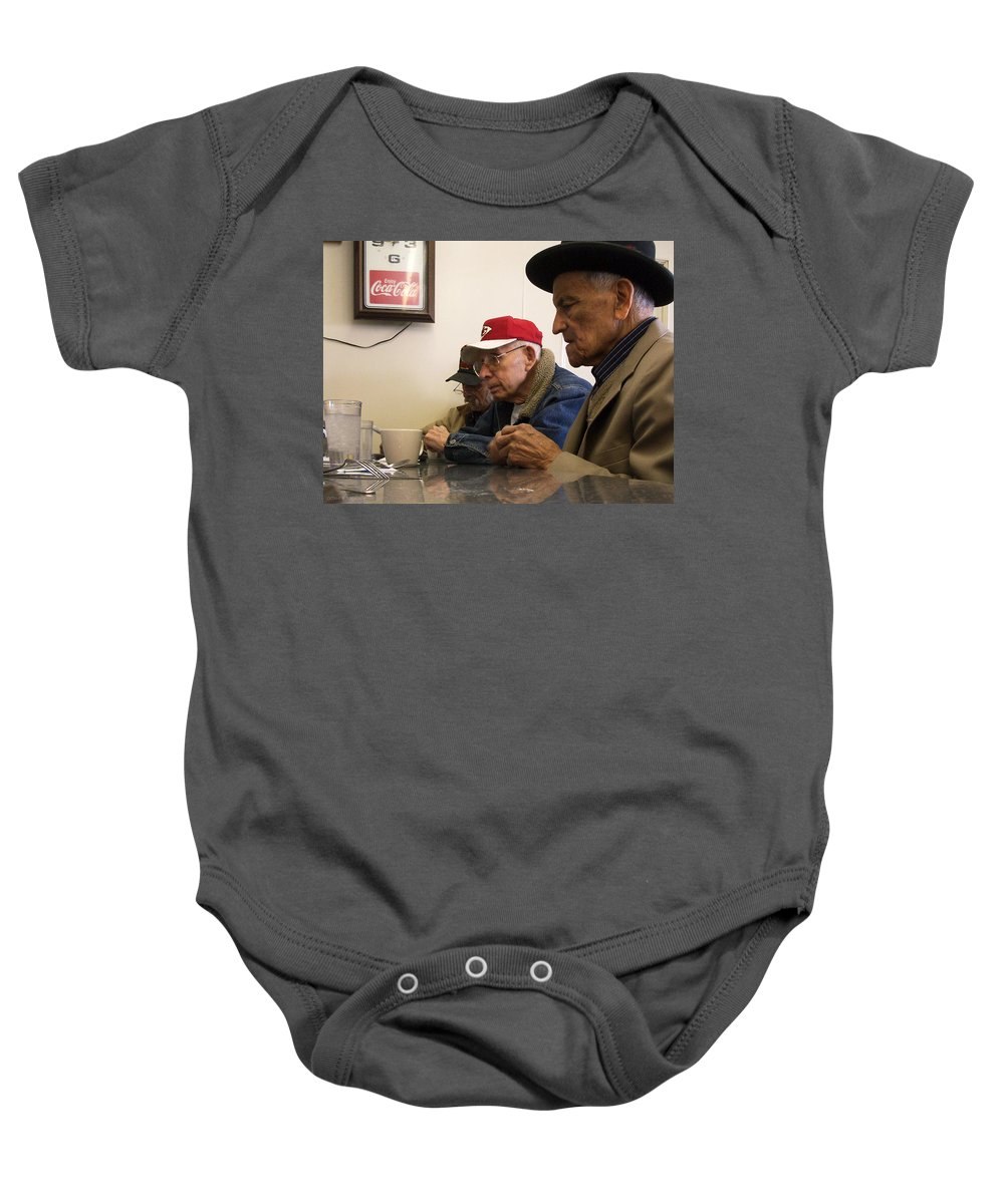 Diner Baby Onesie featuring the photograph Lunch Counter Boys by Tim Nyberg