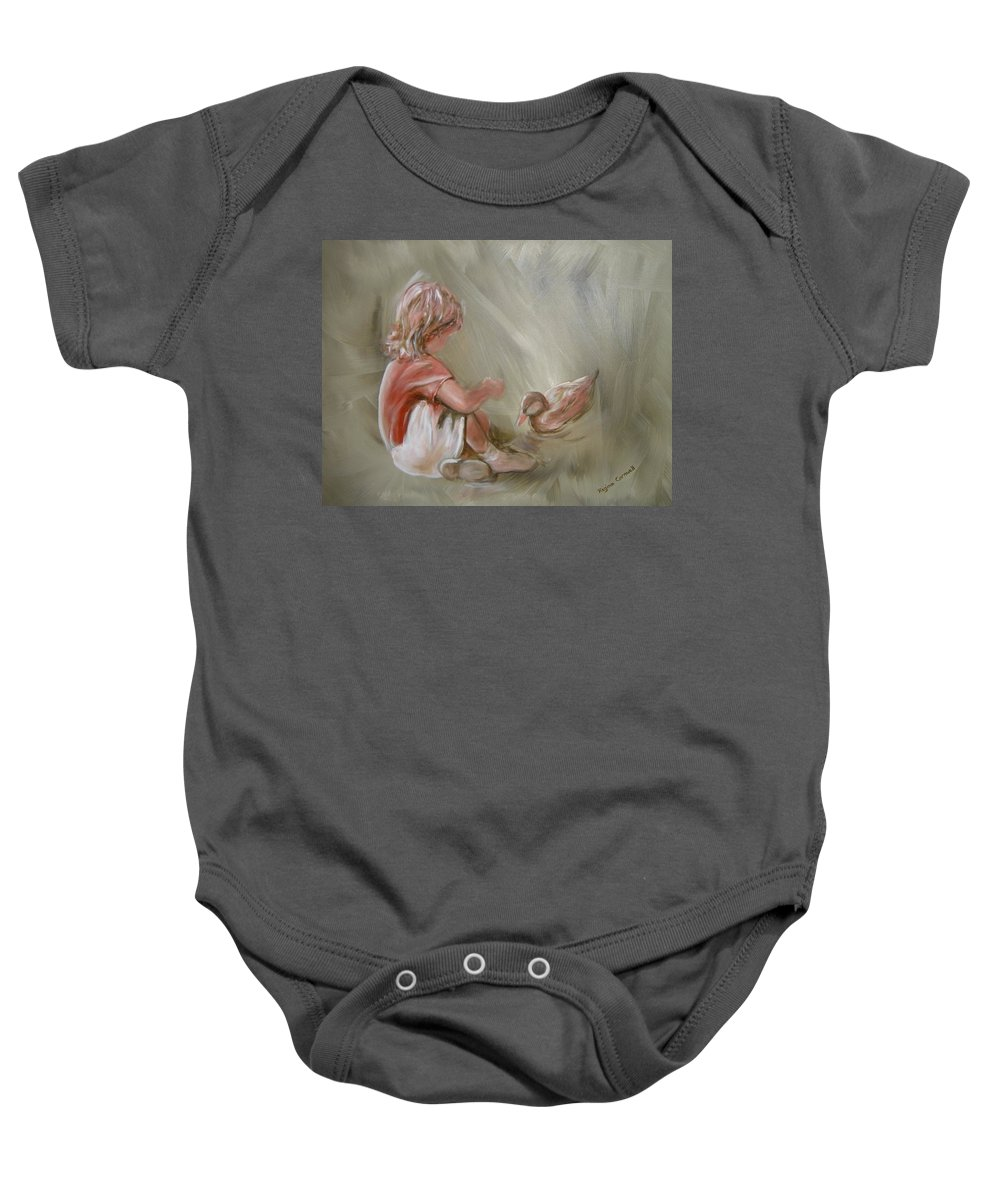 Girl Baby Onesie featuring the painting Lunch Pals by Regina Walsh