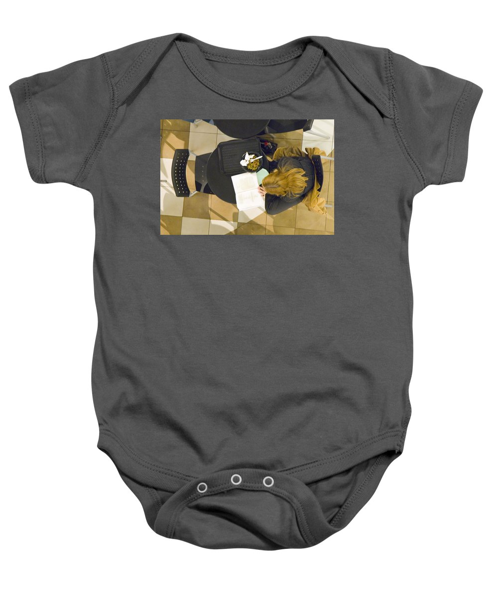 Lunch Baby Onesie featuring the photograph Lunch With A Book by Francesa Miller