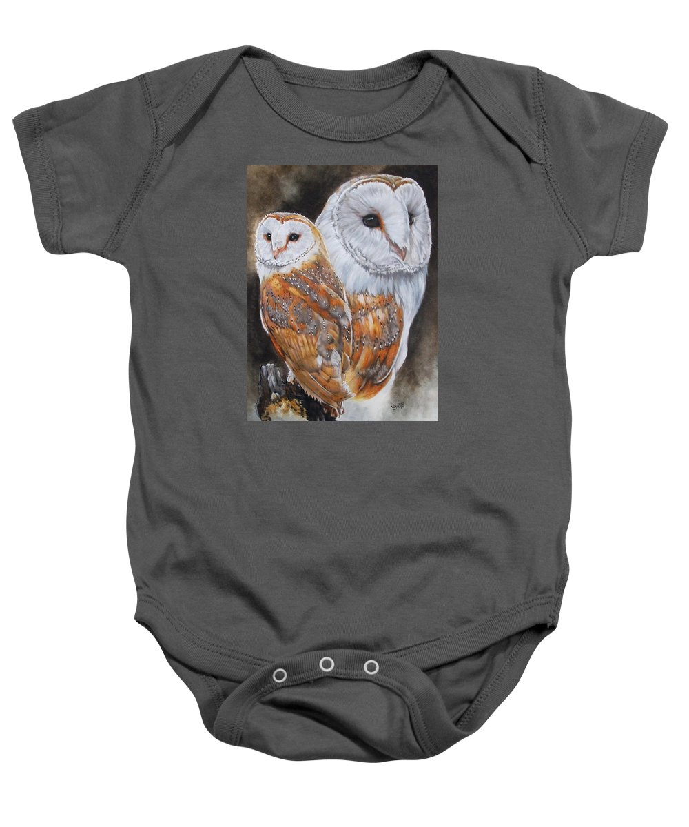 Bird Baby Onesie featuring the mixed media Luster by Barbara Keith