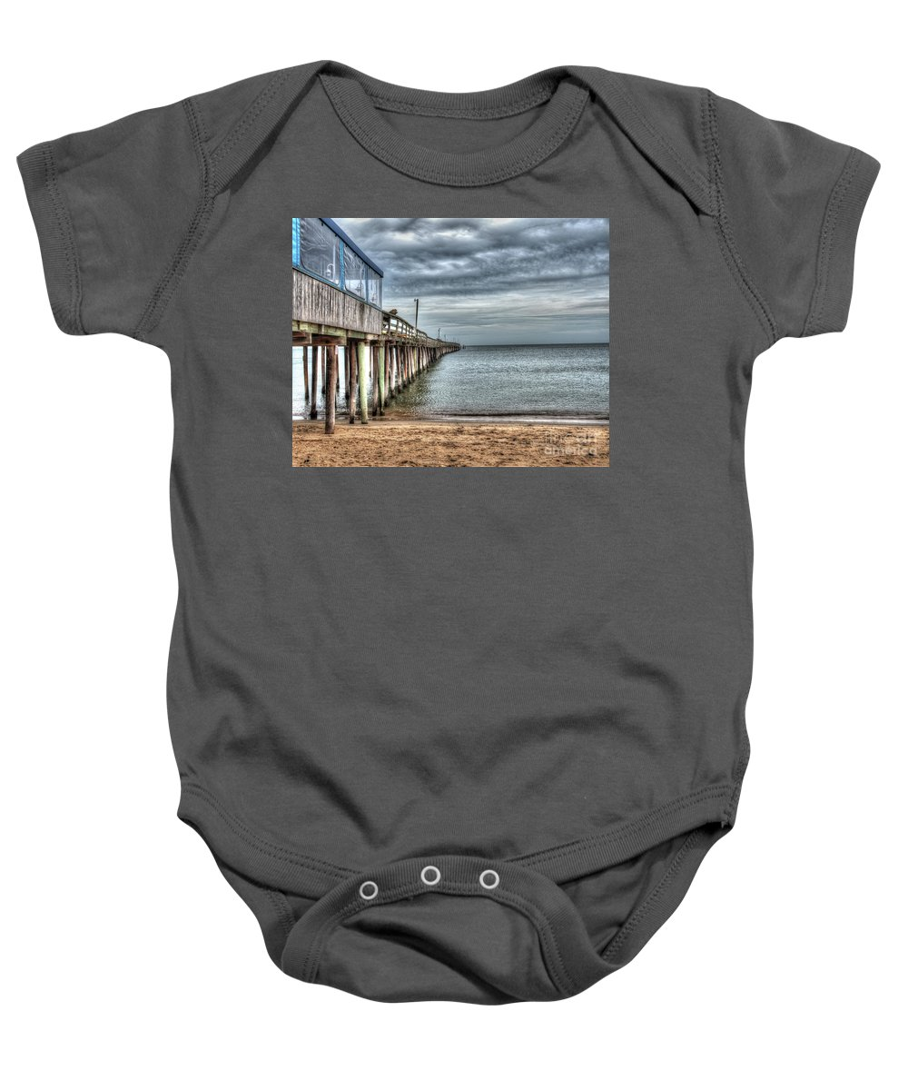 Virginia Baby Onesie featuring the photograph Lynnhaven Fishing Pier, Ocean Side by Greg Hager