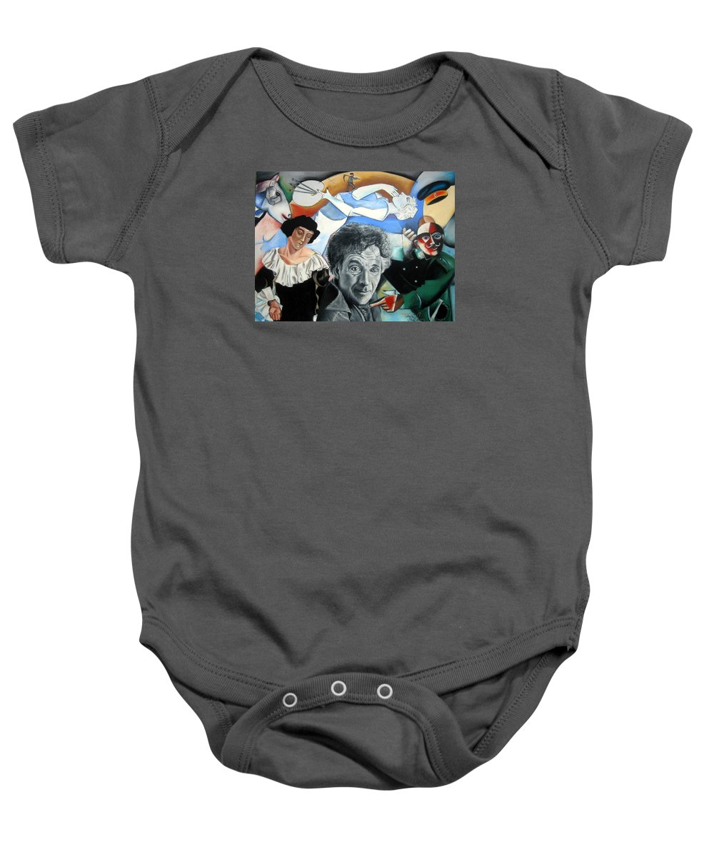 Chagall Portrait Baby Onesie featuring the drawing M Chagall by Leyla Munteanu