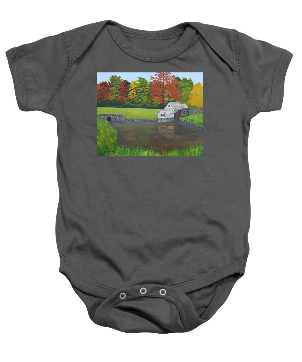 Landscape Baby Onesie featuring the painting Mabry Grist Mill by Ruth Housley