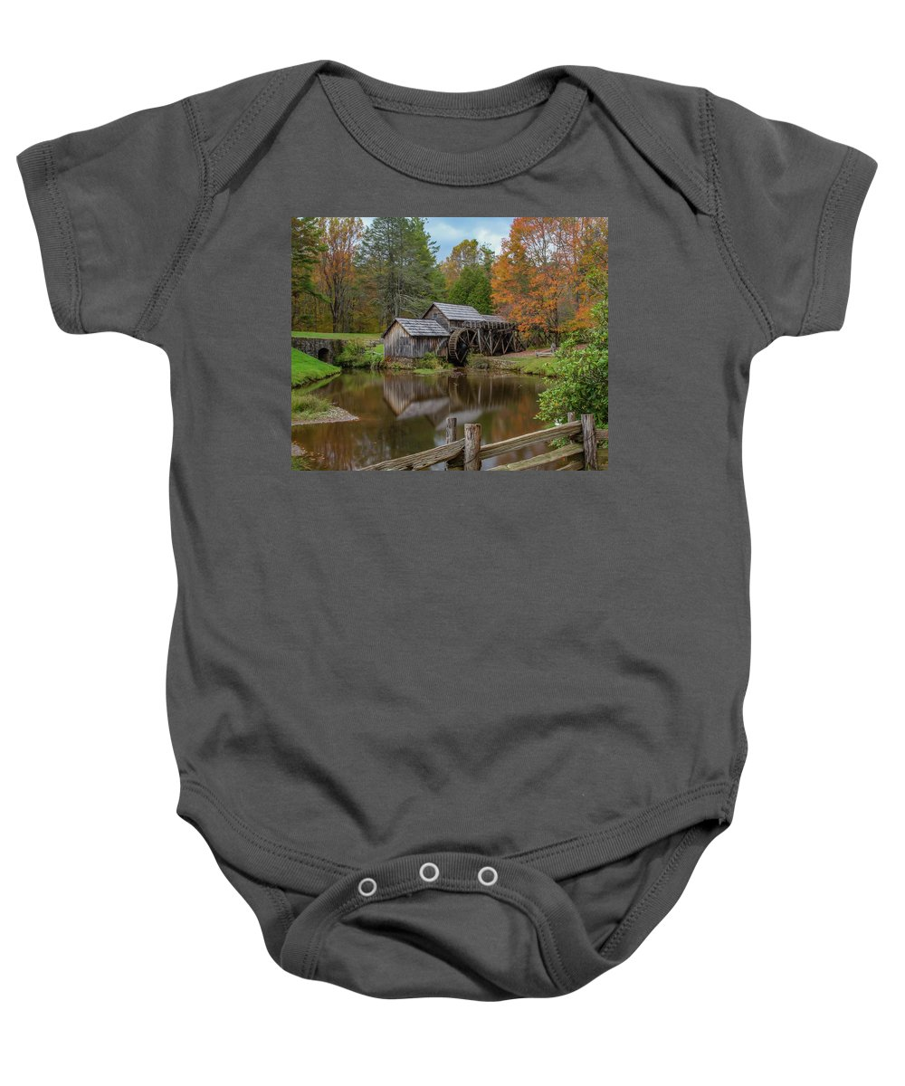 Fence Baby Onesie featuring the photograph Mabry Mill In Fall 2 by Kevin Craft
